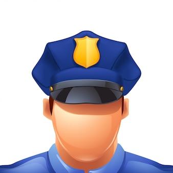 Homme de police sur blanc