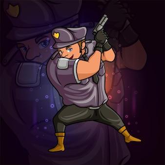 L'homme de police fort mascotte esport conception d'illustration