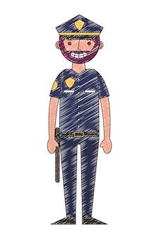 Homme de police en uniforme personnage vecteur illustration dessin