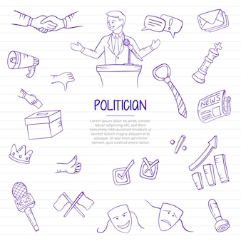 Homme politique dans le travail politique ou la profession d'emplois doodle dessinés à la main avec un style de contour sur l'illustration vectorielle de la ligne de livres en papier