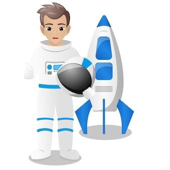 Homme portant un casque d'astronaute