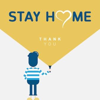 Un homme portant des chemises à rayures se tient en arrière, tenant une lampe de poche jaune comme symbole reste à la maison avec le cœur et merci des mots.