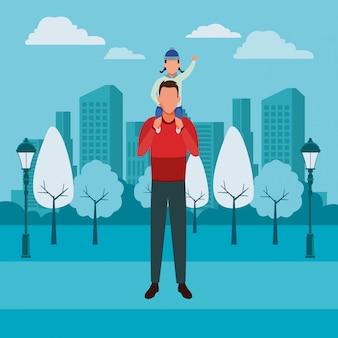 Homme portant un enfant sur l'épaule