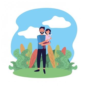 Homme portant un enfant