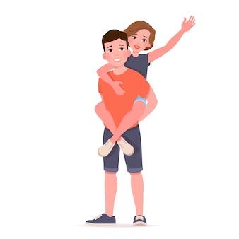 Homme portant une fille sur les épaules. couple heureux.