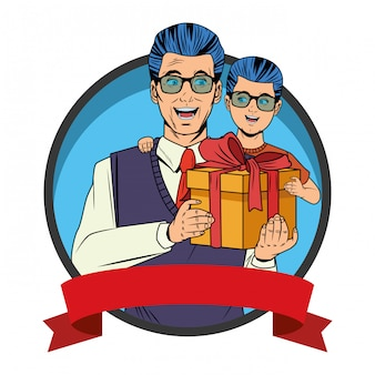 Homme portant un garçon avec une boîte-cadeau
