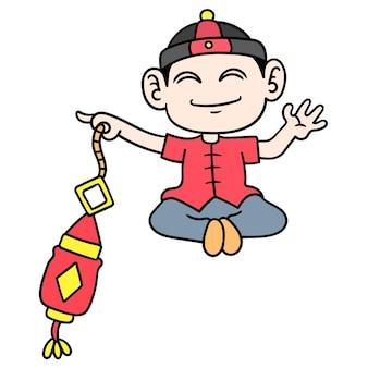 Homme portant des lanternes pour la célébration du nouvel an chinois, doodle dessiner kawaii. illustration