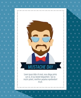Homme portant des lunettes et noeud de cravate avec moustache
