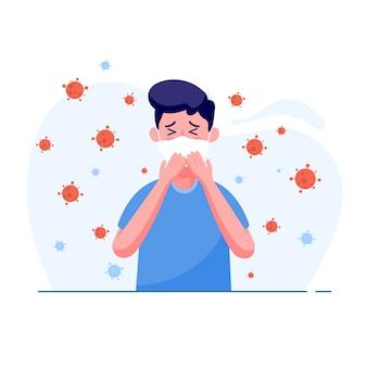 Homme portant un masque médical de protection et avoir la fièvre des symptômes avec le virus se propager dans l'air dans un style plat. concept de virus corona mondial et d'éclosion de covid-19 et d'attaque pandémique.