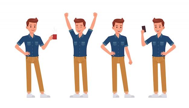 Homme portant un personnage de chemise en jean bleu