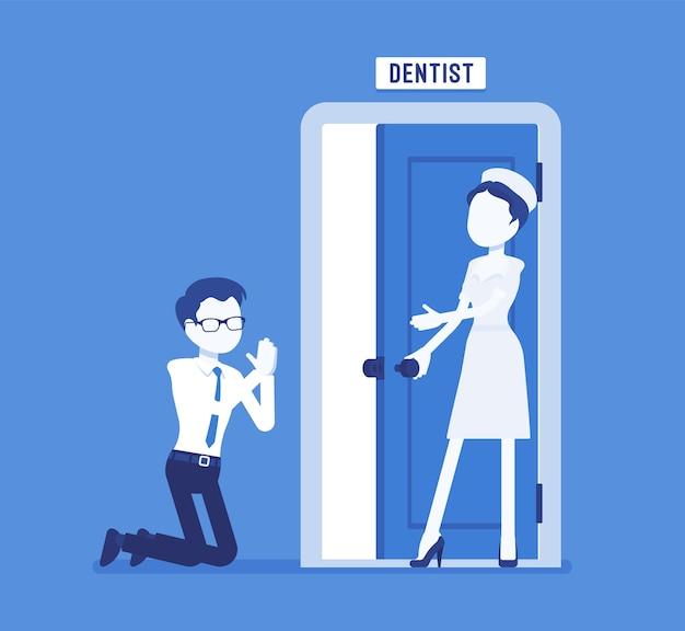 Homme à la porte du dentiste ayant la phobie