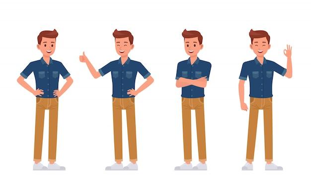 L'homme porte un jeu de caractères de chemise en jean bleu