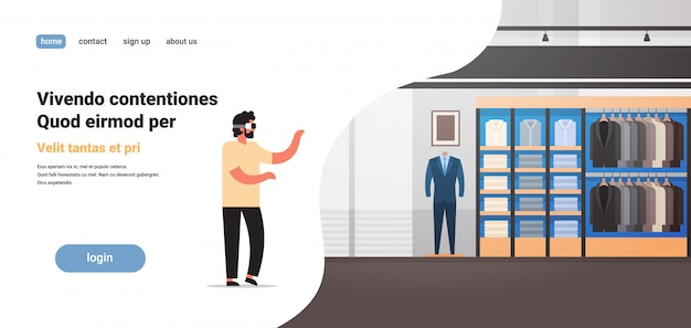 Homme porter des lunettes numériques magasin de vêtements de réalité virtuelle vr vision casque innovation concept entreprise costume veste boutique