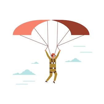 Homme, porter, lunettes, voler, voler, parachute, mec, dans, réalité virtuelle, casque, parapente, concept, ligne, mâle, personnage dessin animé, pleine longueur, isolé