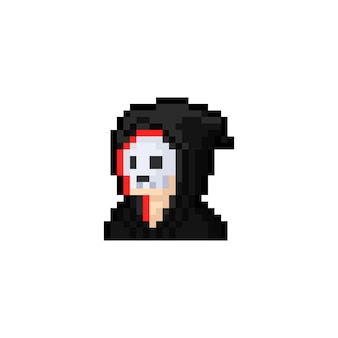 Homme de portrait de dessin animé de pixel art avec l'icône de masque de crâne