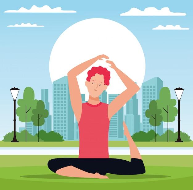 Homme pose de yoga