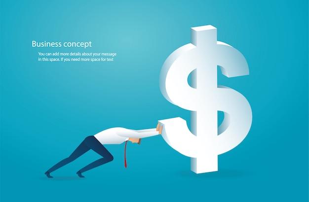 L'homme pousse le gros dollar vers le succès