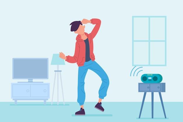Homme pratiquant la danse fitness à la maison