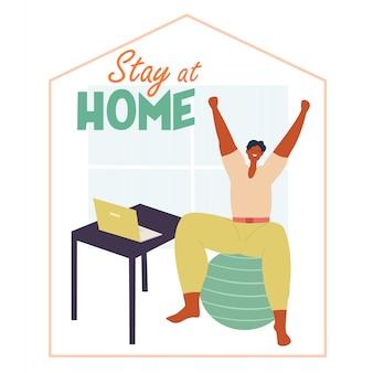 Homme pratiquant la distanciation sociale. travaille à la maison, fait des exercices. illustration sociale lors d'un virus pandémique. restez à la maison, sauvez des vies.