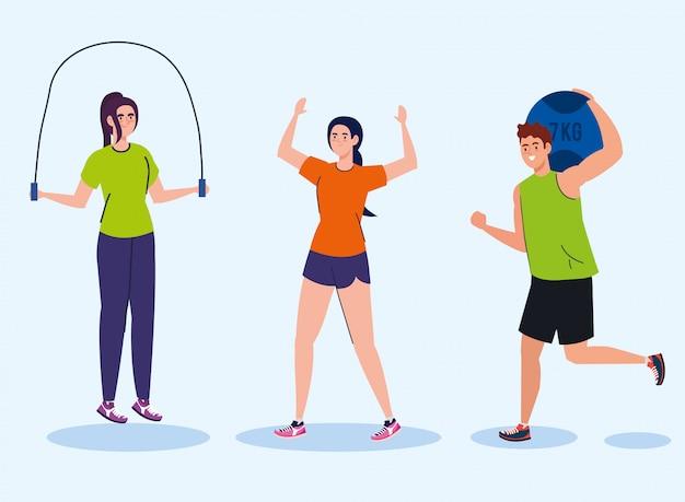 Homme pratiquant l'exercice avec ballon de sept kilogrammes, sport exercice de loisirs