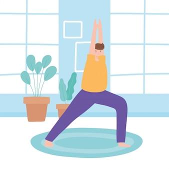 Homme pratiquant des exercices de pose de yoga, mode de vie sain, illustration de la pratique physique et spirituelle