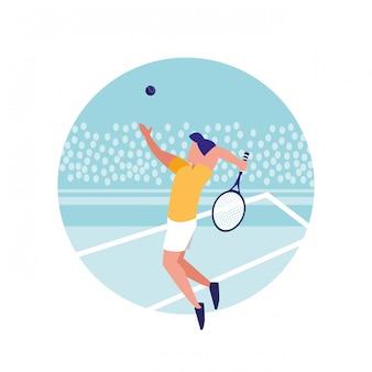 Homme pratiquant le personnage d'avatar de tennis