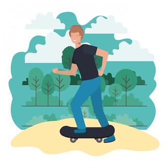 Homme pratiquant la planche à roulettes sur le parc