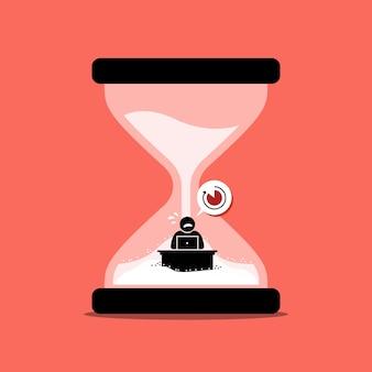 Homme précipitant son travail de bureau à l'intérieur d'une horloge de sable ou d'un sablier représentant la date limite.