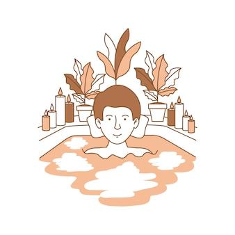 Homme prenant une baignoire avec la maison