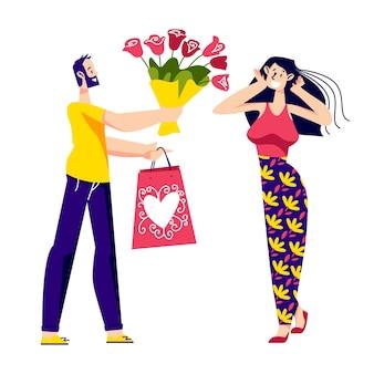 Homme présentant un cadeau de femme et un bouquet de fleurs pour la saint valentin ou un anniversaire.