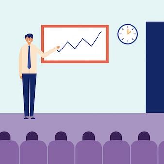 Homme présentation statistiques activité quotidienne
