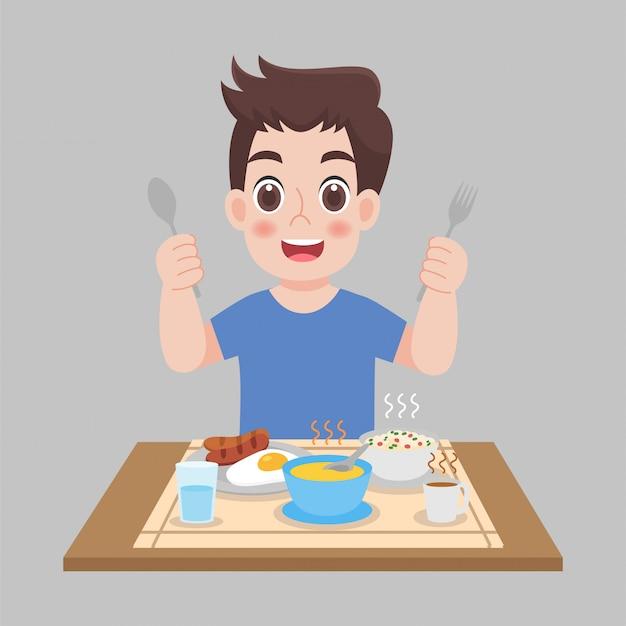 Homme prêt à manger des aliments chauds, des saucisses, des œufs au plat, de la soupe. caricature de concept de soins de santé.