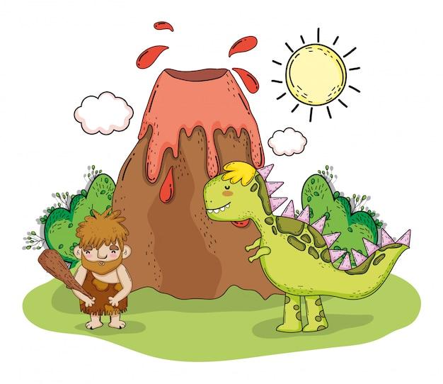 Homme primitif avec animal tyrannosaure et volcan