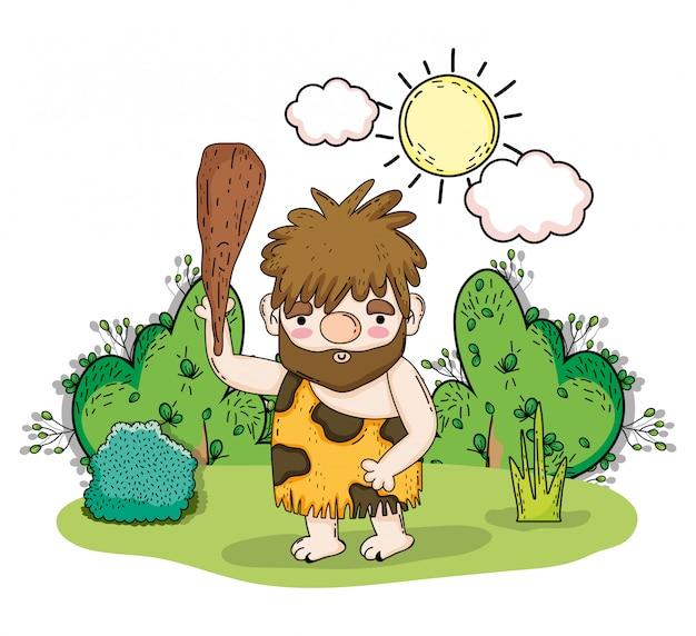 Homme primitif chassant avec maillet et arbustes