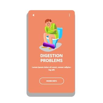 Homme avec des problèmes de digestion assis aux toilettes
