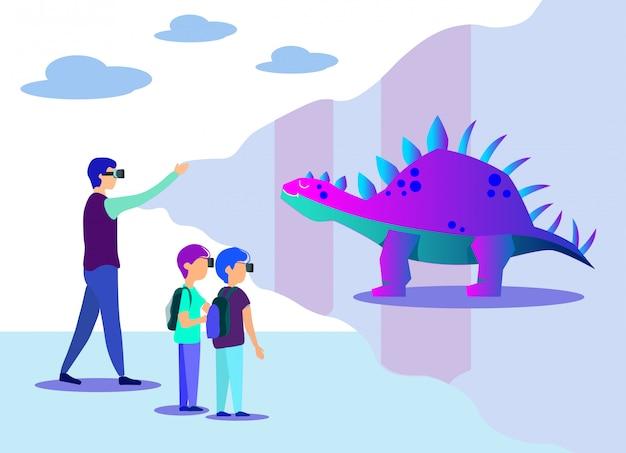 Homme, projection, enfants, virtuel, dinosaure, projection
