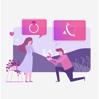 Homme propose une bague de mariage à une amie