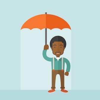 Homme prospère avec parapluie.