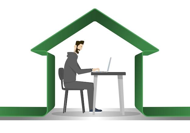 Un homme protégé sous une maison verte pour éviter le danger de coronavirus
