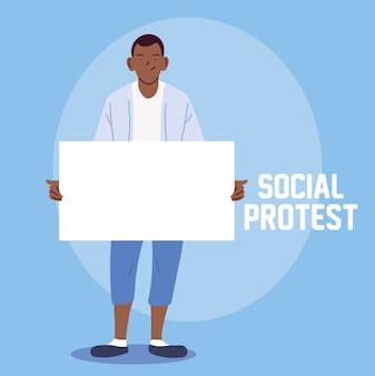 Homme en protestation sociale avec bannière