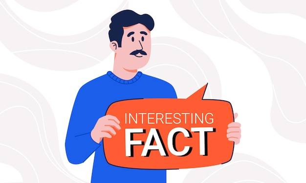 Homme en pull avec moustache tenant une bulle de dialogue fait intéressant dans ses mains isolé sur fond abstrait. guy attirant l'attention sur des informations importantes avec une plaque de conseil de notification.