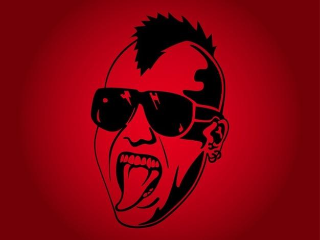 Homme punk avec des lunettes de soleil portrait