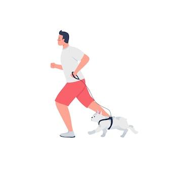 Homme qui court avec un chien en laisse caractère détaillé plat. propriétaire jogging avec bouledogue français. caricature isolée de mode de vie actif