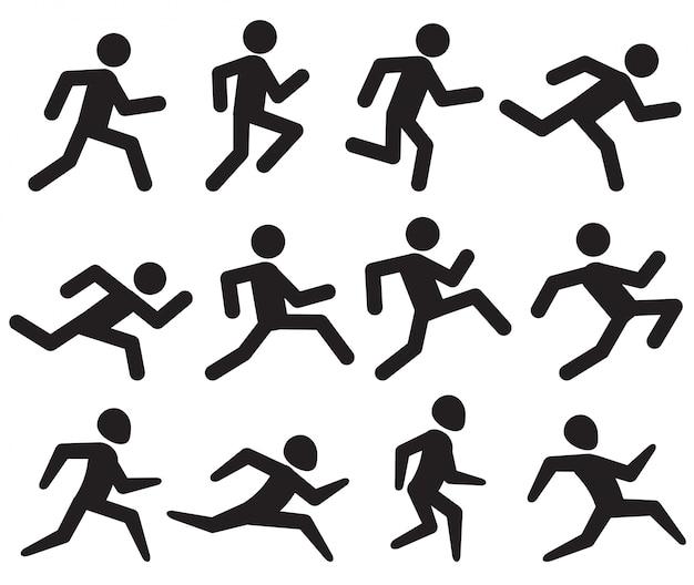 Homme qui court figure pictogrammes noirs