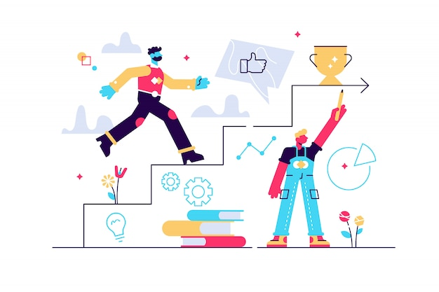 Un homme qui court jusqu'aux escaliers dessinés à la main en tant que concept de coaching, de formation commerciale, de réalisation des objectifs, de réussite, de progrès, d'échelle de carrière, de palette violette. illustration sur fond blanc.