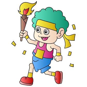 Un homme qui court un marathon portant une torche de flamme éternelle avec joie, art d'illustration vectorielle. doodle icône image kawaii.