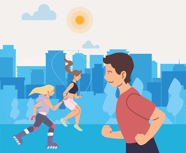 Homme qui court et personnes à la conception de la ville, restez en bonne santé, sport et activité de plein air
