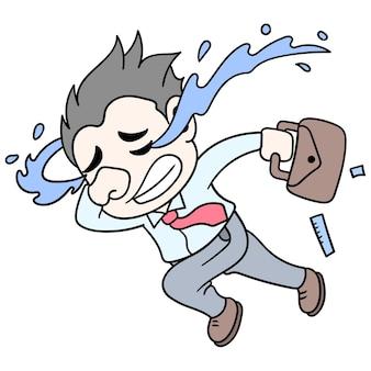 Un homme qui court, pleure tristement parce qu'il a été licencié d'un emploi, illustration vectorielle. doodle icône image kawaii.