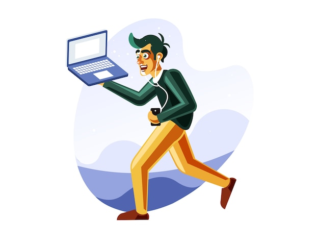 Homme qui court tout en portant son ordinateur portable
