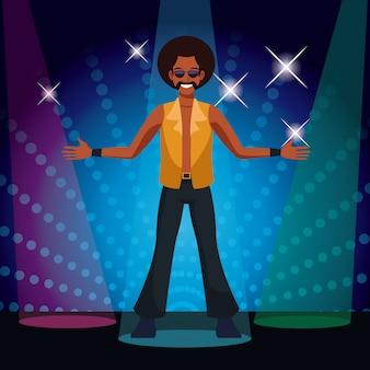 Homme qui danse à la discothèque des années 80 avec des lumières